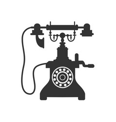 old vintage telephone silhouette vector image