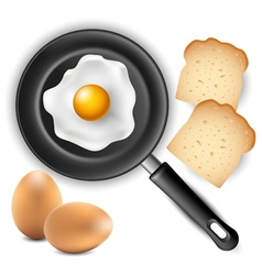 Omelet in frying pan with bread and egg vector