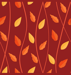 orange leaves pattern on seamless background vector image