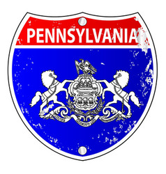 Pennsylvania flag icons as interstate sign vector