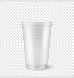 Realistic 3d empty clear plastic disposable vector