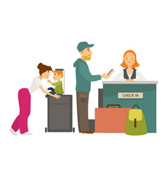 Reception desk check in airport family with vector