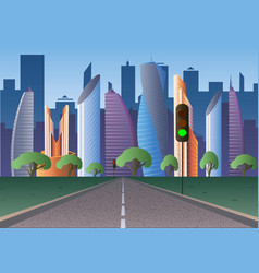 road to the futuristic city of the future with vector image