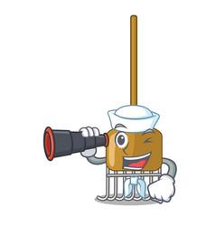 Sailor with binocular garden rake agriculture tool vector