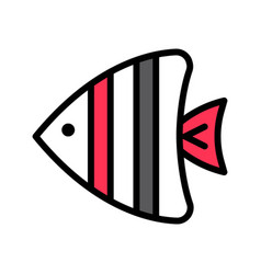 Sea fish tropical related filled style icon vector