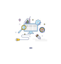 seo optimization made in line style vector image