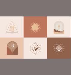 set modern abstract aesthetic backgrounds vector image