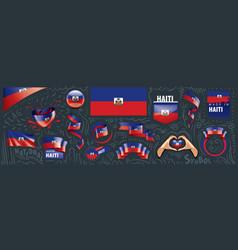 set national flag haiti vector image