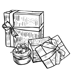 Set of gift boxes with bows vector