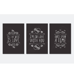 Set of Saint Valentines day hand drawn greeting vector