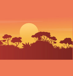 Silhouette forest scenery at sunset vector