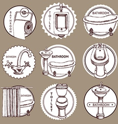 Sketch set of logo with bathrom and toilet symbols vector image