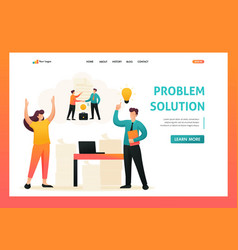 Solution of problem by employees of company flat vector