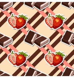 Striped Background Chocolate Strawberry vector image