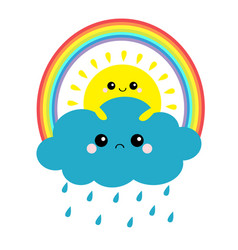 sun holding cloud rainbow set rain drop weather vector image
