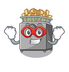 Super hero character deep fryer on restaurant vector