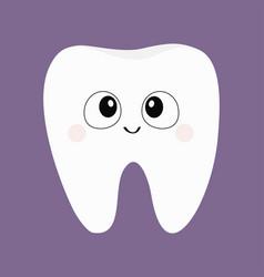 Tooth icon big eyes cute funny cartoon smiling vector