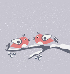 two birds sitting on a branch hello winter card vector image