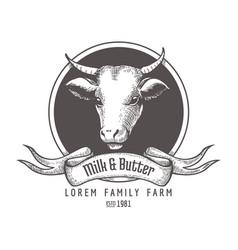 vintage milk cow logo vector image