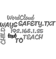 Ways to teach child safety text word cloud concept vector