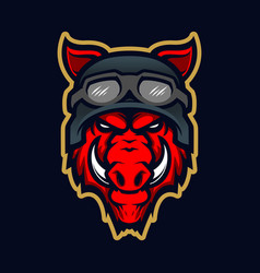 wild hog head mascot vector image