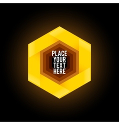 Yellow hexagon shape on dark background vector