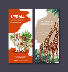 Zoo flyer design with tiger giraffe watercolor vector