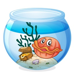 a water bowl and a shell fish vector image