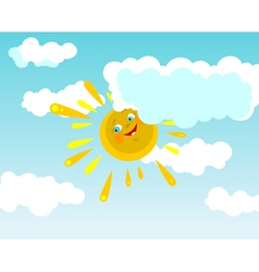 cartoon smiling sun in clouds vector image vector image