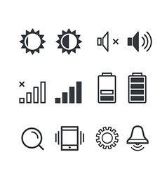 Different mobile phone notification pictograms vector