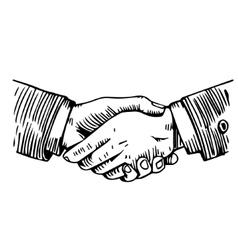 Handshake engraving on white vector