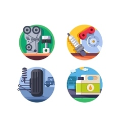 Spare parts set icons vector image vector image