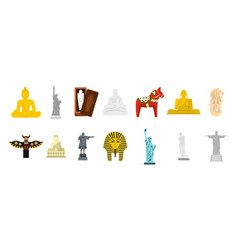 statue icon set flat style vector image vector image