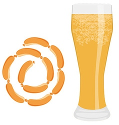 Beer and sausage vector image vector image