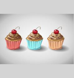chocolate cake set vector image