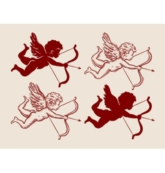 set of cute Cupid silhouettes vector image