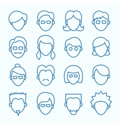 Simple Line Faces Icons Set vector image vector image