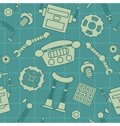 Smart robot parts and details pattern vector image vector image