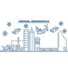usa indiana indianapolis winter city skyline vector image