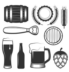 vintage beer icons symbols set vector image