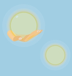Hand with luminous sphere in eps vector image