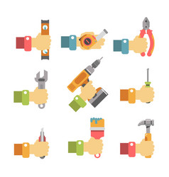 hands holding maintenance tools vector image vector image