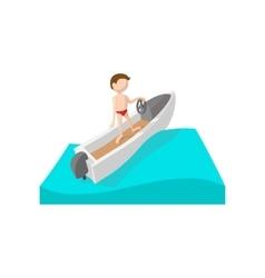 Racing boat cartoon icon vector image vector image
