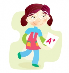 school girl with test result vector image vector image