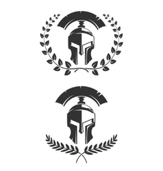 Set of the emblems templates with helmet spartan vector