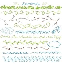 Summer hand drawn border set vector image vector image