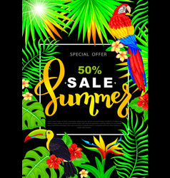 summer sale vertical poster with parrot toucan vector image vector image