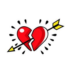 broken red heart pierced with an arrow vector image