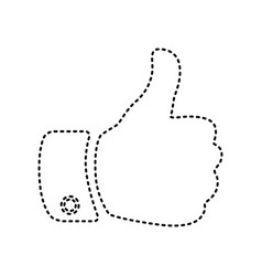 hand sign black dashed icon vector image