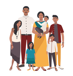 Large family portrait indian mother father and vector